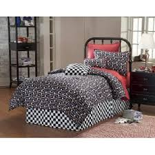 Twin Size Bed In A Bag 6 Piece Black U0026 White Twin Microfiber Reversible Comforter Sets