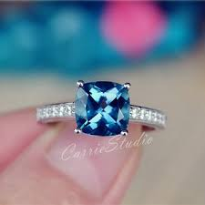london blue topaz engagement ring cushion london blue topaz ring from carriestudio on etsy