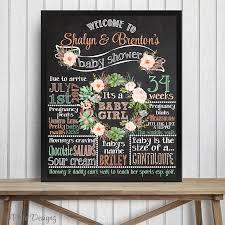 baby shower chalkboard watercolor flower chalkboard philodesignz
