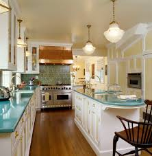 traditional cookies kitchen with schoolhouse pendant lights wooden