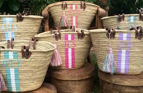 monogrammed baskets custom monogrammed bag customize straw bag initialed