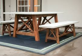 Concrete Dining Room Table Ana White X Base Outdoor Concrete Table And Bench Set Diy Projects