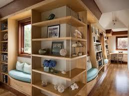 Window Seat Bookshelves Contemporary Hallway With Flush Light U0026 Built In Window Seat