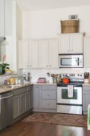 Kitchen Top Cabinets Black And White Kitchen With White Top Cabinets And Black Bottom