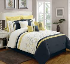 contemporary yellow and blue navy roses california king comforter