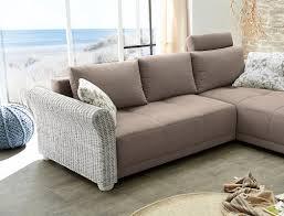 Wohnzimmer Sofa Wohnlandschaft Rouven 248x179 Cm Greige Armlehnen Aus Rattan