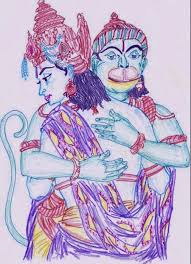 best hd images painting and sketches lord ram and hanuman hug