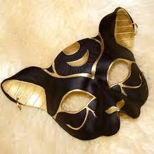 leather mardi gras masks bast cat goddess leather mask in jet black