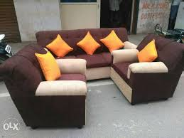 Brown Sofa Throw Brown Sofa Set With Throw Pillow Lot 3 1 1 Bengaluru Furniture