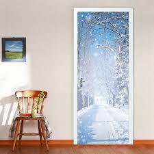compare prices on winter bedroom online shopping buy low price diy 3d winter snow door wall stickers mural bedroom home decor poster pvc waterproof door sticker