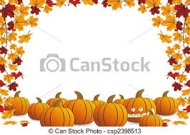 drawings of halloween frame with pumpkin and falling maple leaves