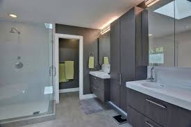 attic bedroom closet bathroom midcentury with gray tile floor san