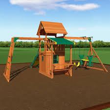backyard discovery saratoga cedar swing play set