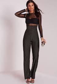 black mesh jumpsuit lyst missguided mesh top stripe jumpsuit black in black