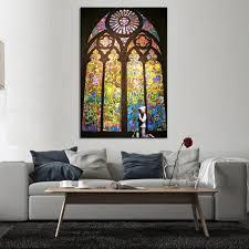 wohnzimmer leinwand aliexpress banksy kunst beten in kirche wohnzimmer leinwand