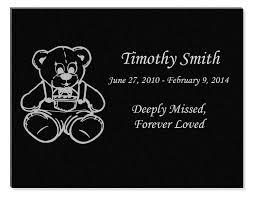 engraved teddy bears teddy engraved infant granite memorial plaque 11x8 5
