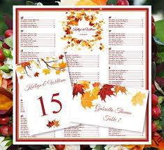 wedding seating chart falling leaves fall autumn or