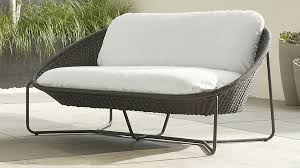 morocco charcoal oval loveseat with cushion crate and barrel