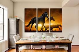 3 piece multi panel canvas panoramic canvas art prints black 3 piece canvas print dining room wall decor black horse group canvas panoramic
