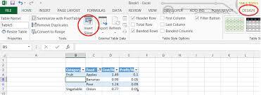 table tools design tab tools design tab excel