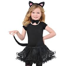Girls Black Cat Halloween Costume Childrens Black Cat Ears Tail Bow Tie Girls Fancy Dress