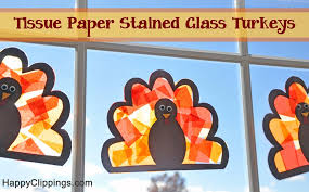 diy tissue paper stained glass turkeys craft