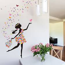 Fashion Modern DIY Decorative Mural PVC Girl Butterfly Bedroom