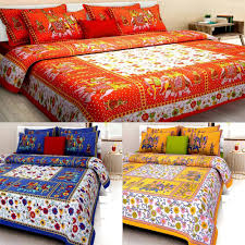 homeshop18 home decor uniqchoice set of 3 rajasthani king size cotton bedsheets with 6