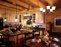 Unfinished Solid Wood Kitchen Cabinets Interior Casual Log Cabin Homes Interior Kitchen Decoration Using