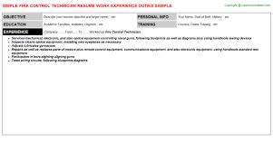 fire control technician resume sample