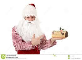 young caucasian man santa claus cake royalty free stock