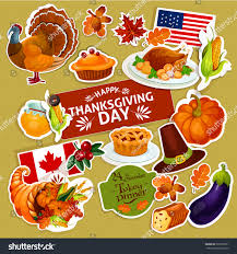 thanksgiving celebration stickers cut line vector stock vector