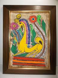 painting artwork on wood vintage mexican folk amate bark painting deer wood frame 17 5