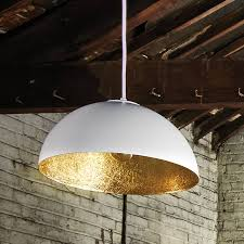 white and gold pendant light rondure ceiling pendant by lighting direct notonthehighstreet com