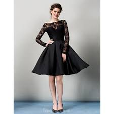 black dress australia cocktail party dress black a line bateau knee