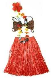 kids hula costume red