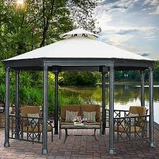 Patio Gazebo 10 X 10 by 10 X 12 Hardtop Metal Steel Roof Outdoor Patio Gazebo W Aluminum