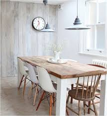 Modern Dining Room Table With Bench Style Mix Wood Tables White Chairs Centsational Style