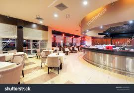 modern restaurant interior part hotel night stock photo 122660995