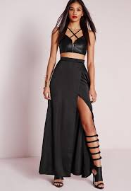 maxi skirt satin wrap maxi skirt black missguided
