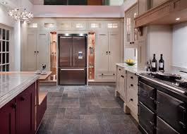 american style fridge freezer beautifully framed by shaker style