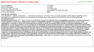 sustainability specialist cover letter