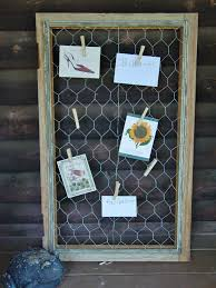 pin board from an old window frame and chicken wire i am going