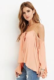 open shoulder blouse lyst forever 21 drapey open shoulder blouse in pink