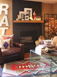 painted brick fire places black painted brick fireplace in the