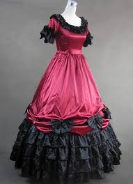 red and black short sleeves satin gothic victorian dress cheap