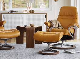 stressless sunrise small recliner with ottoman by ekornes