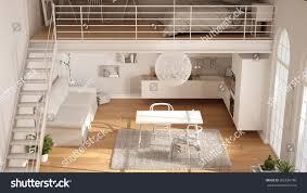 scandinavian minimalist loft oneroom apartment white stock scandinavian minimalist loft one room apartment with white kitchen living and bedroom