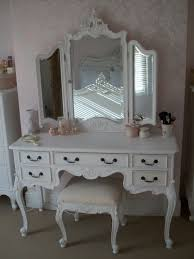 White And Mirrored Bedroom Furniture Classic White Woden Make Up Table And Pink Flower Pattern Wall