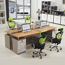 Computer Work Station Desk Low Price Eco Friendly Modern 4 Person Office Computer Wooden